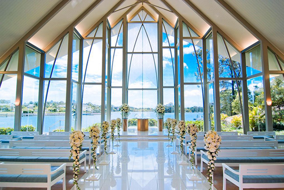 InterContinental Sanctuary Cove Resort - Inside The Chapel with decorated pews