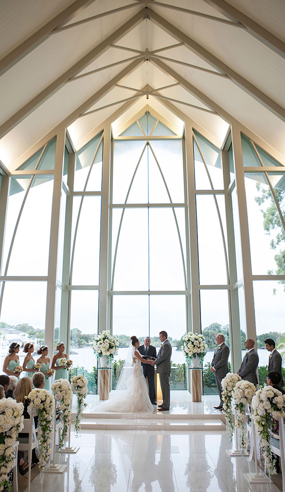 Couple getting married in the Wedding Chapel at InterContinental Sanctuary Cove Resort