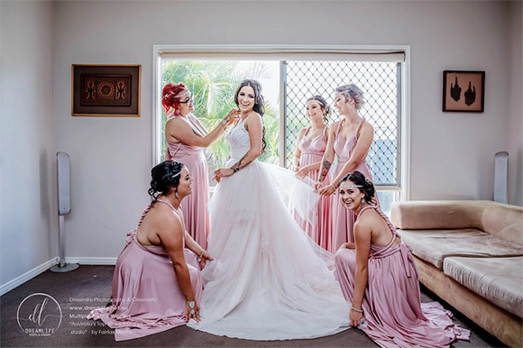 Same sex bride and bridal party