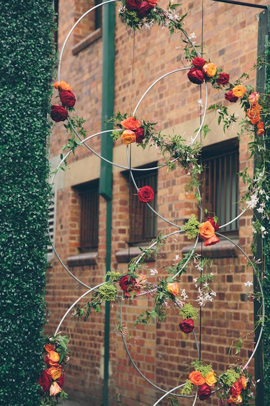 Wedding day floral installations