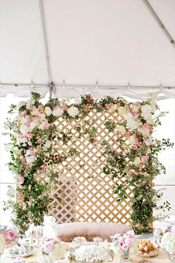 Floral installation at your wedding reception