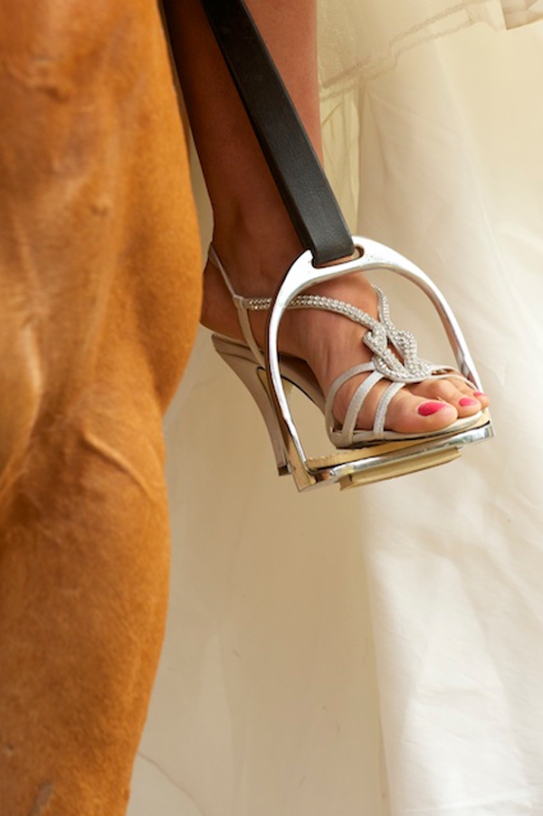 Bridal shoes and horse stirrups - Country wedding