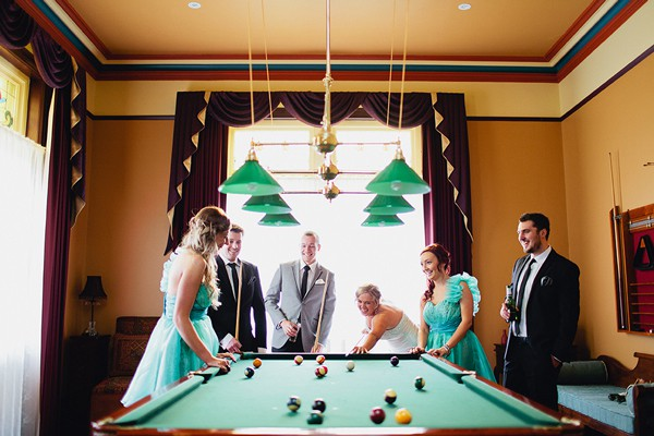 Playing pool and getting married