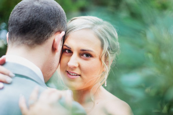 Intimate wedding day pictures of the bride
