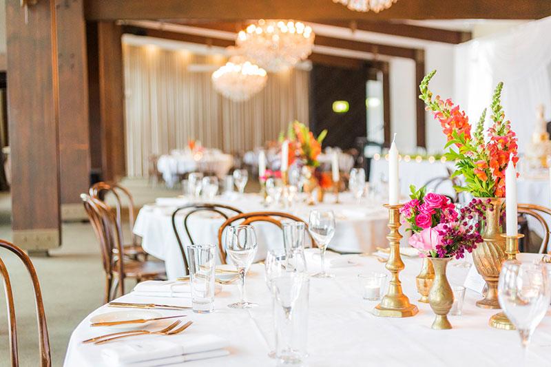 wedding reception table set up at Victoria Park Wedding Venue
