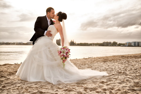 Amy and Michael getting wed on the beach