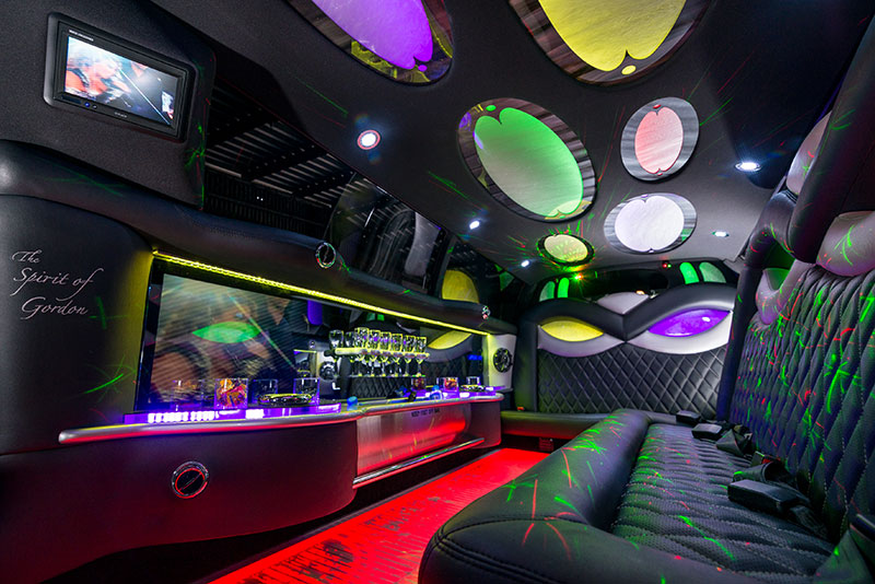 Interior of Murrell's 10 seater Chrysler 300 Super Stretch limousine with laser lighting and a disco roof.