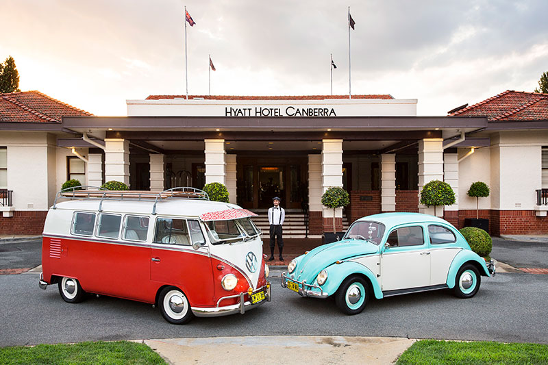 Syd the Kombi and Benny the bug outside of Canberra's Hyatt Hotel.