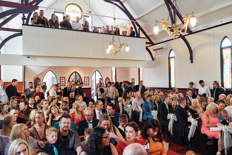 200 of Brad and Scott's family and friends gathered for their wedding at Broadway Chapel.