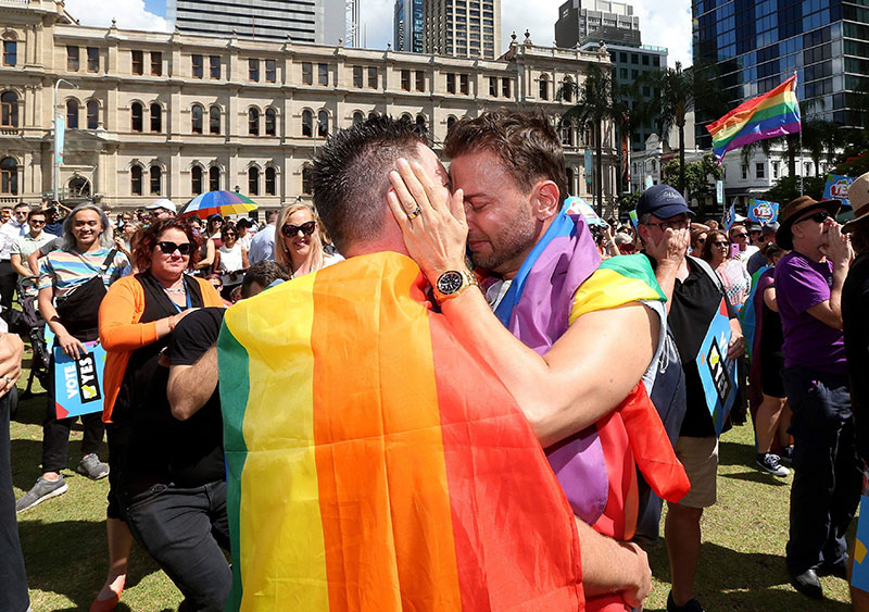 Brad and Scott waiting for the Yes vote on marriage equality.
