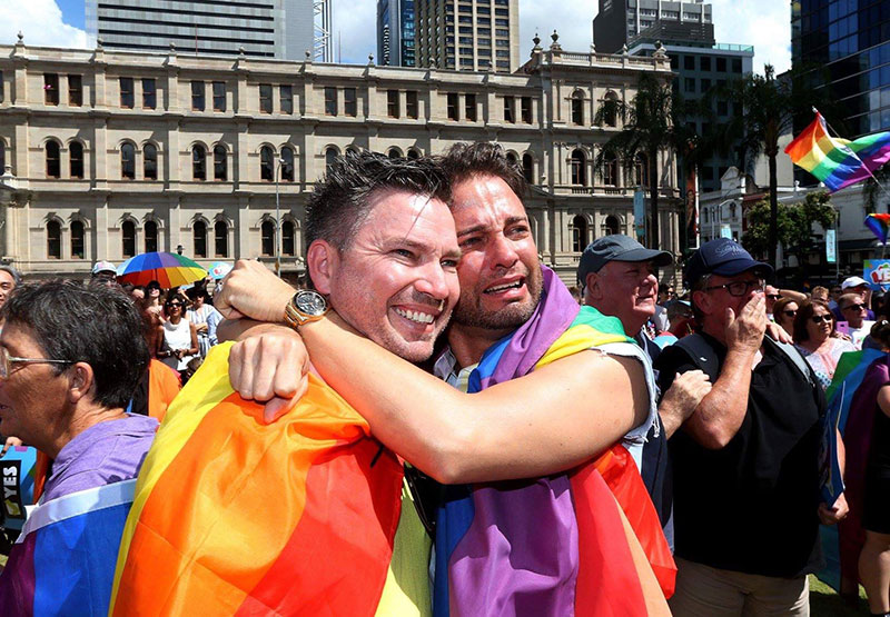 Brad and Scott after the Yes vote to marriage equality is announced.