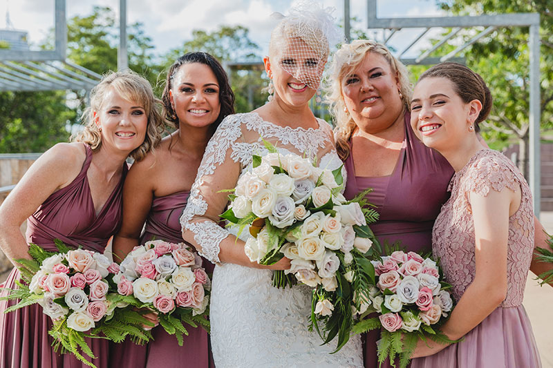 Emma with her four bridesmaids.