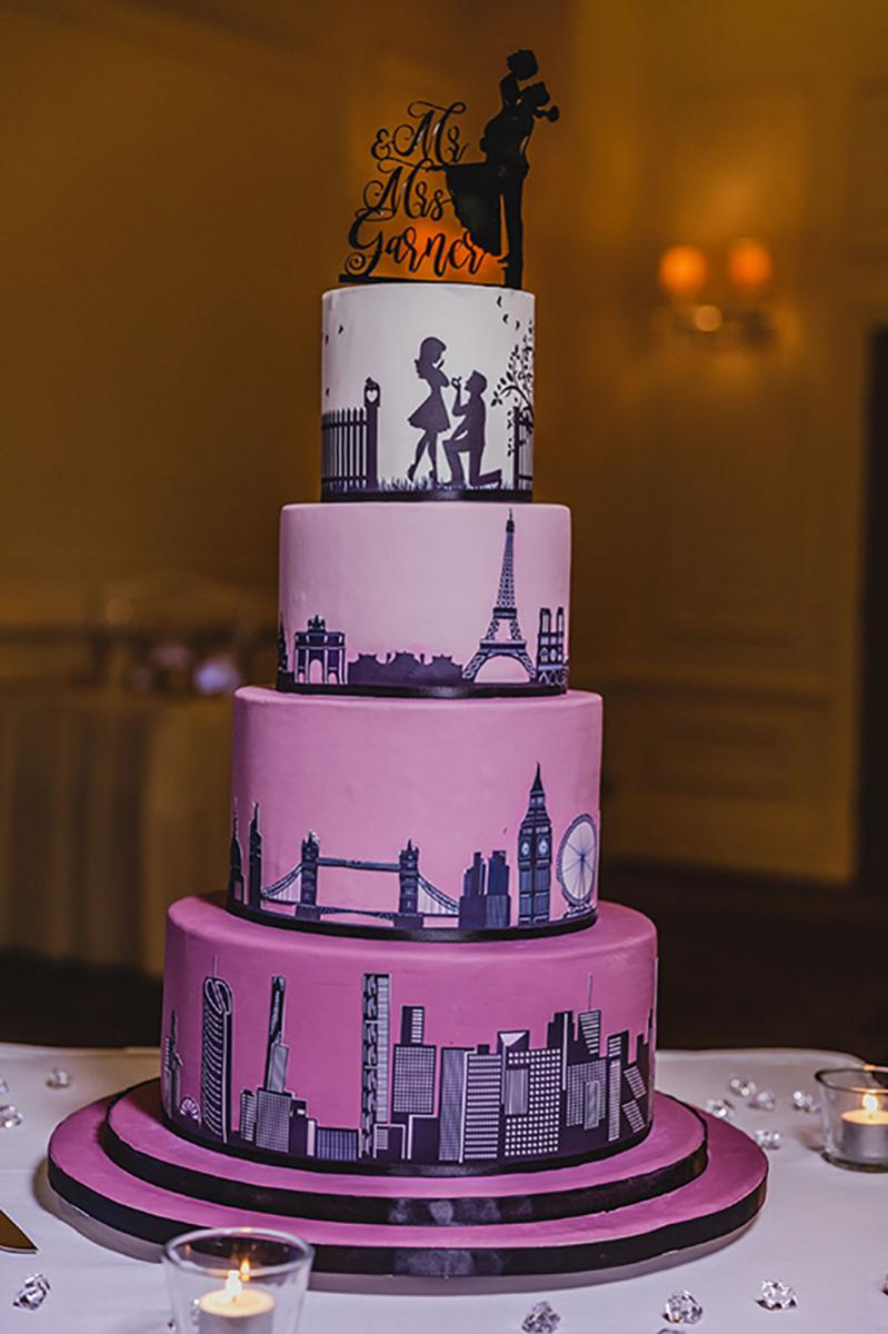 4 tiered Storyboard wedding cake.