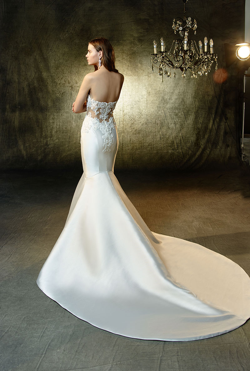 Back view of a sleek wedding gown with a mermaid stye skirt from the Enzoani Collection.
