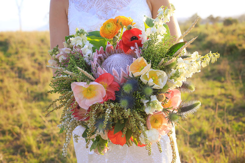 Colourful bouquet of country wedding flowers.