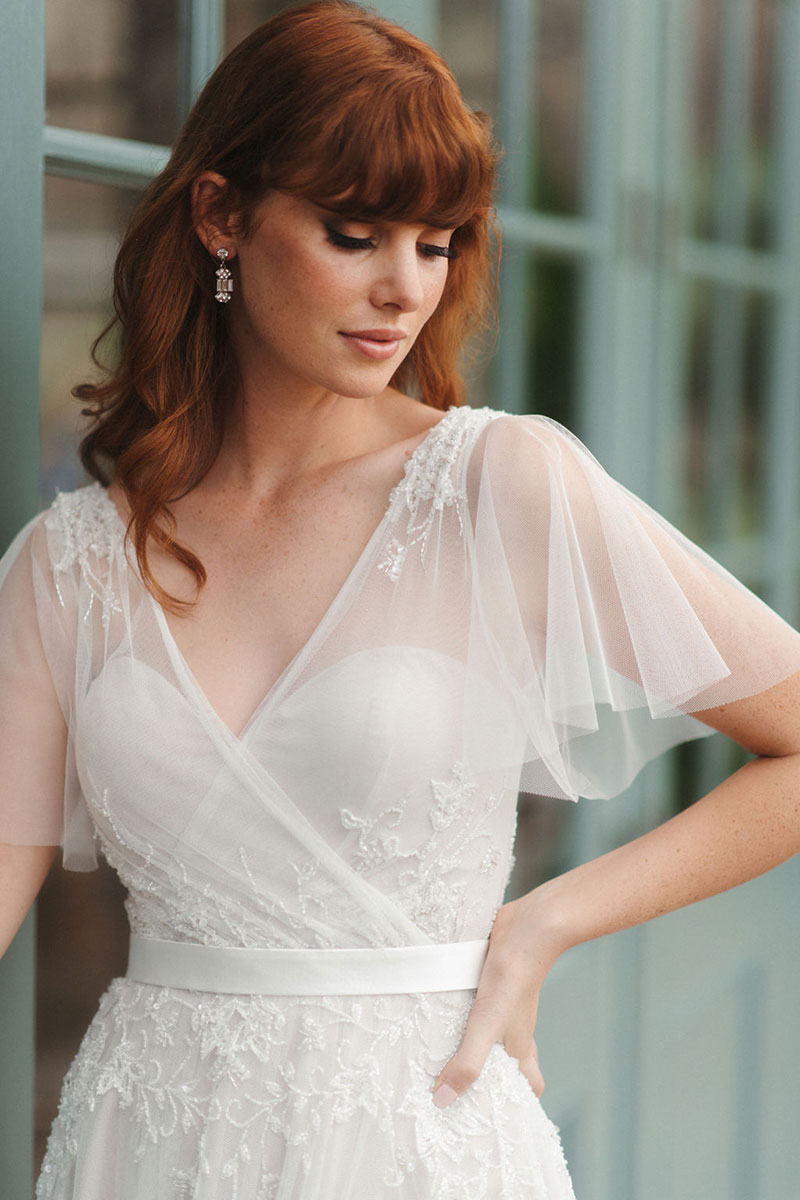 Red haired bride wearing Dahlia from French by Wendy Makin