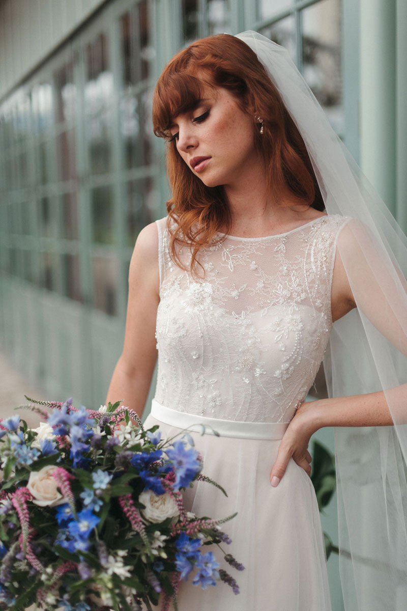 Close up of bride wearing Fleur gown from French by Wendy Makin.