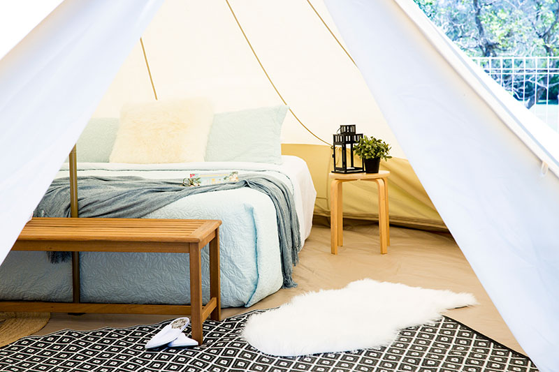 Inside a quality Bell tent from Glamping Days Hire Co.