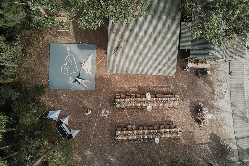 Birds eye view of a wedding set up at Kingfisher Bay Resort.