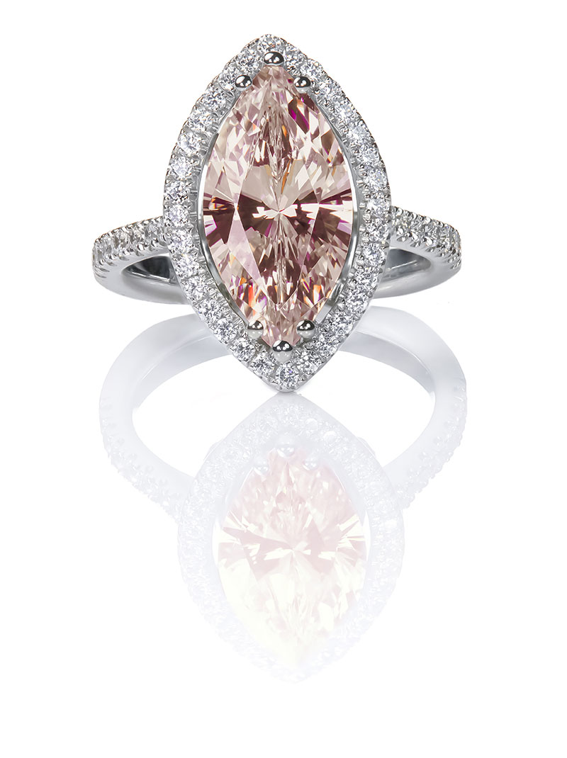 Morganite ring with pink coloured stone.