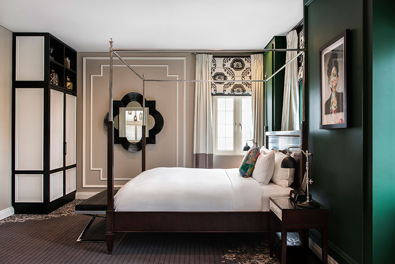 Glamorous, old world style Thomson Suite at Ovolo Inchcolm.