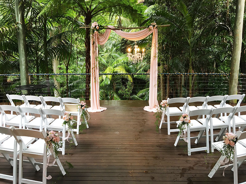 Ceremony set up at Pethers Rainforest Retreat.