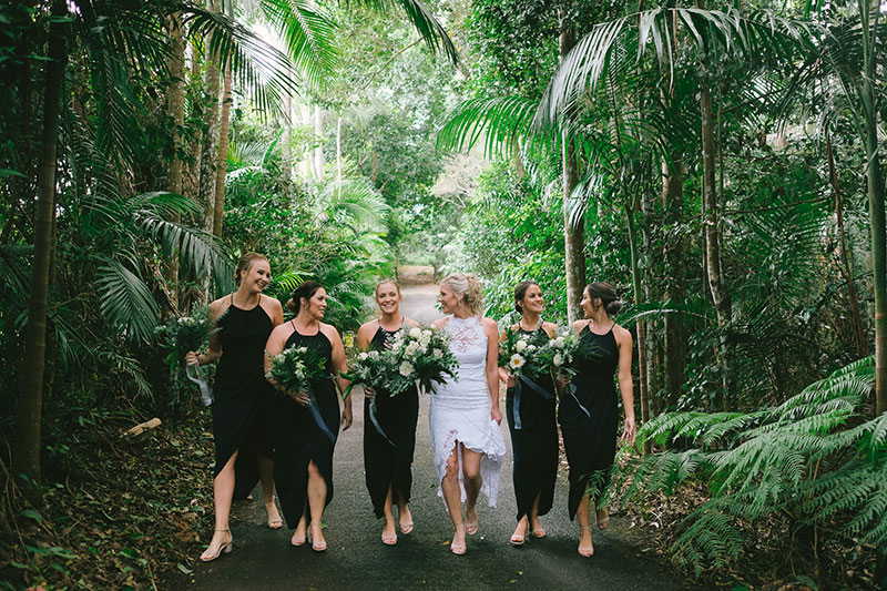 Bridal party enjoying the lush rainforest setting at Pethers Rainforest Retreat.
