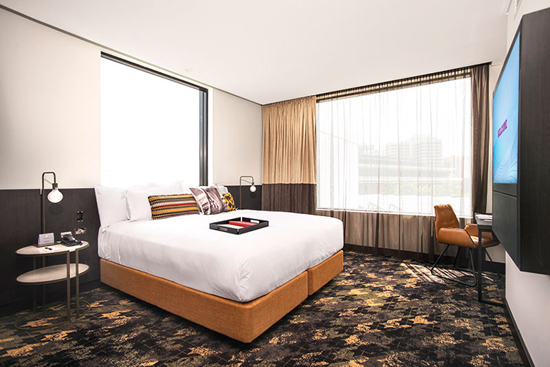 Spacious Executive King Suite with King size bed at Rydges Fortitude Valley.