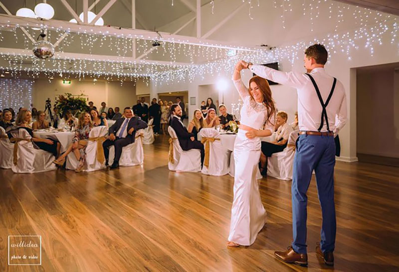 Bride and Groom dancing at their wedding reception at Surfers Paradise Golf Club.