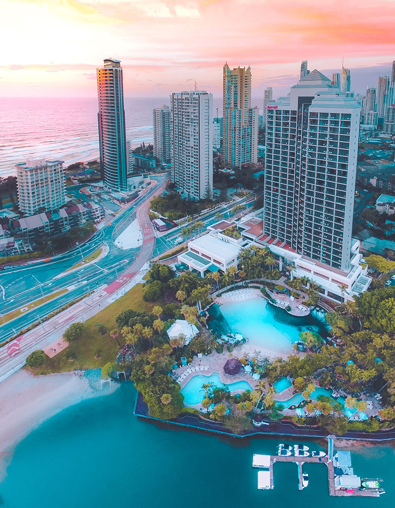 Birds eye view of Surfers Paradise Marriott Resort & Spa.