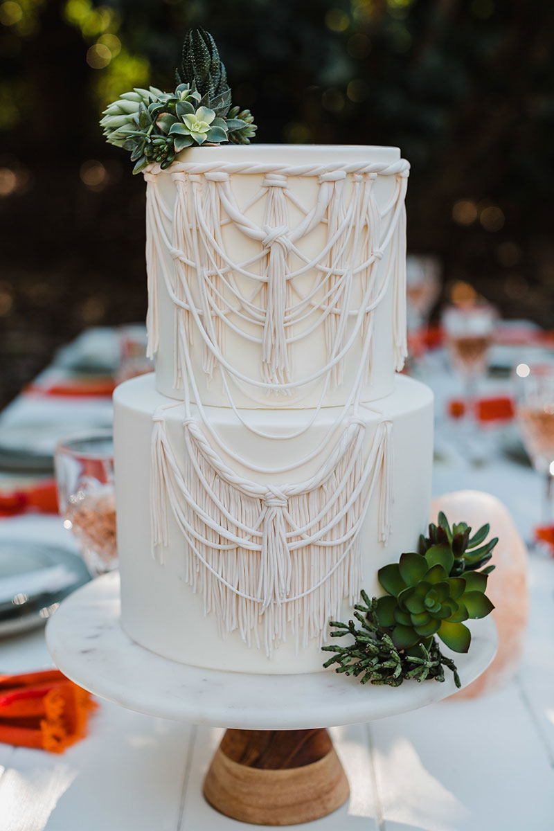 Boho wedding cake with succulents - inspired by macrame arbour.