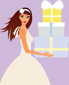 Illustrated Bride holding cake