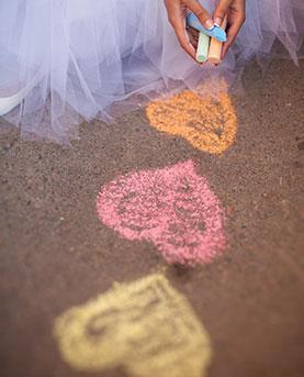 Heart chalk concept