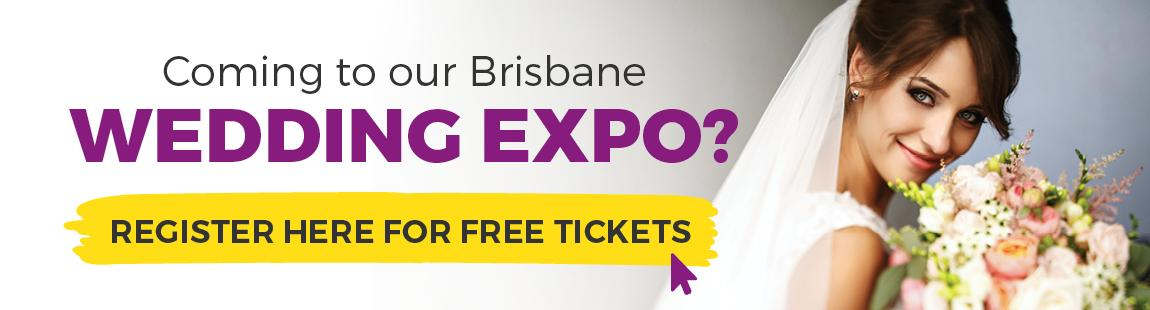 Banner with a button for Free tickets to the Brisbane Wedding Expo.