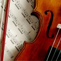 Violin on sheet music