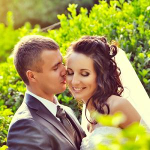 Wedded couple in park