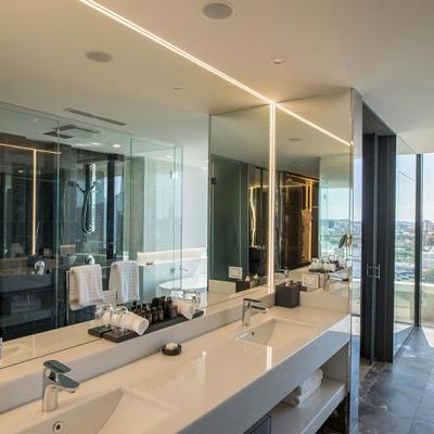Luxury bathroom of an Emporium Hotel suite.