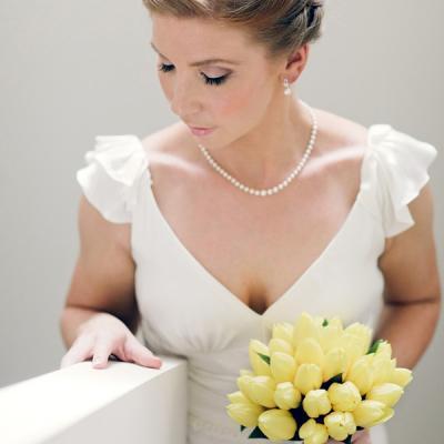 Ashleigh at altar white wedding dress