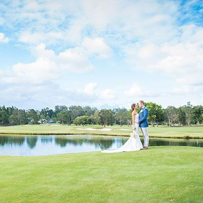 Bride and Groom together on RACV Royal Pines Resort golf course.